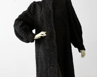 vintage Persian lamb fur coat, black curly lamb fur coat