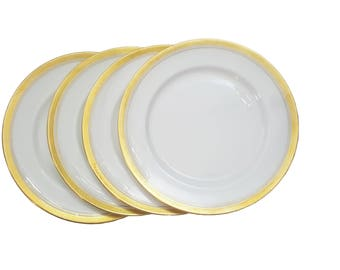 Set of 4 Aynsley Elizabeth Salad Plates, Thick Gold Gliding Bone China Plates, Elegant Dining, Gift for Her