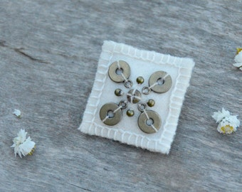 White woolen textile brooch. Brooch with  brass beads. Simple bridal minimalist brooch. Shawl pin.