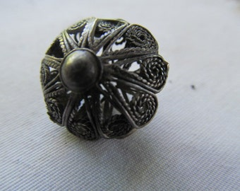 Victorian Antique Silver Button Silver Filigree Bead Lace Filigree Victorian Antique Button Silver Button Old Buttons