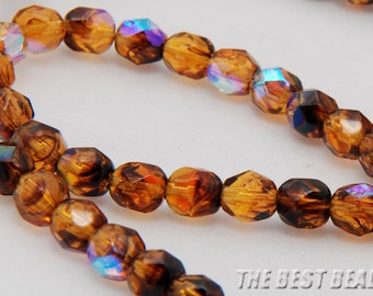 30pcs Dark Topaz with AB Faceted Round Fire Polished Czech Glass Beads 6mm