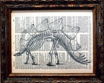 Stegosaurus Skeleton Art Print from 1896 on Dictionary Book Page