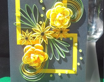 Personalised Quilling Greeting Card, Blank Greetings Card, Floral Greeting Card,