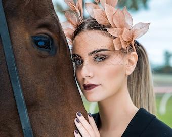 Jolie Rose' - Rose Gold Leaf Custom Designed Racing Fashion Headpiece