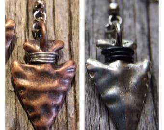 Silver or Copper Arrowhead Earrings