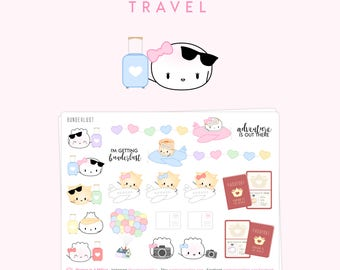 """Travel Stickers - """"Bunderlust"""" [Travel Stickers, Travel Planner Stickers, Flight Stickers, Plane Stickers, Photo Stickers, Passport] - S120"""