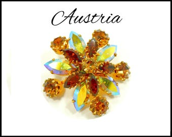 AUSTRIA Aurora Borealis & Amber Rhinestone Brooch, AB Topaz and Gold, Amber AB Brooch, Runway Style, Graduation Mothers Day Gift For Her