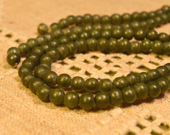 100pcs 8mm Dark Forest Green Wood Natural Beads Round Macrame Bead