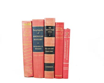 Soft Salmon Decorative Books, Pink Coral Antique BOoks, Wedding Decor Centerpiece, Home Decor, Book Collection, BOok Set, PHotograhy Prop