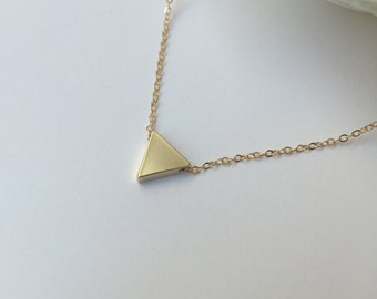 Tiny gold floating triangle necklace, 16 K gold plated small solid triangle, delicate minimalist geometric, simple choker, everyday layering