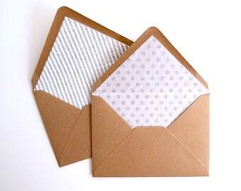 Patterned Glitter Lined Envelopes. Pack of 10
