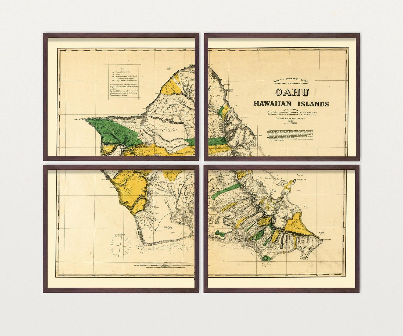 Oahu Map - Antique Map - Archival Reproduction - Hawaii Art - Hawaii ...