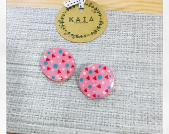 Wooden earrings (pink circle)