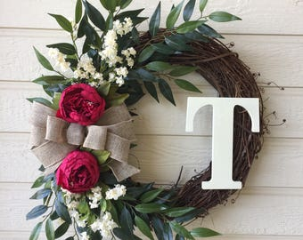 Monogram Peony Wreath / Monogram Grapevine Wreath / Everyday Wreath / Year Round Wreath