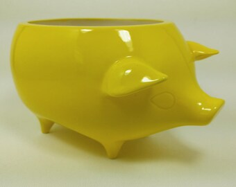 Mexican Pig Planter - Ceramic Handmade - Yellow Gloss Glaze - Indoor Garden - Retro 1960's Style - Ready to Ship