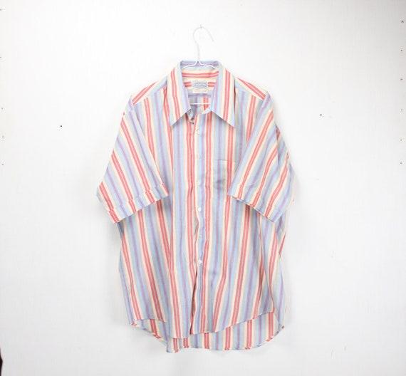 Vintage Men's Half Sleeve Shirt - Huntley ltd - Mc Carthy's  - Blue - Yellow - Pink - White - Plaid - Cotton Blend - XL - 17 - 1960's