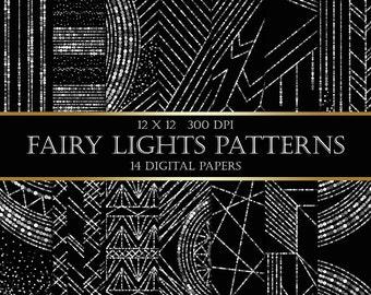 Bokeh String Lights Digital Papers  - silver glitter bokeh fairy lights patterns christmas digital paper scrapbooking wedding invitations
