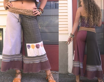 CUSTOM Make Request, Eco made, cropped length, Wide Leg Gauchos, patchwork pants, eco clothing, hippy pants, yoga pants, Zasra
