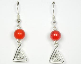 Red Glass with Silver Wirework Earrings