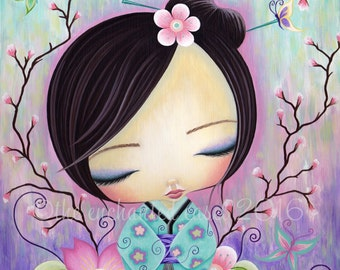 Kokeshi Doll, Girls Room, Art Print, Cherry Blossoms, Japanese, Sakura, Kawaii, Girls Wall Decor, Square, Flowers, Whimsical, Nursery Art