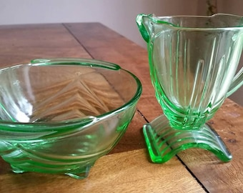 1930's art deco Stolzle glass milk jug and sugar bowl.