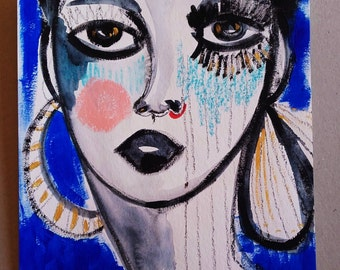 Portrait Woman Face Painting Portrait Wall Art Portrait Fine Art Girl Home Decor Original Art Céline Marcoz Art - Face - Portrait - Woman