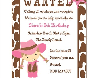 Cowgirl Birthday Invitation - (Digital File) / Cowgirl Invitation / Pink Cowgirl Invitation / Cowgirl Party Invitation
