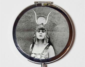 Art Deco Cleopatra Compact Mirror - Vamp Silent Film Theda Bara Egyptian Version 2 - Make Up Pocket Mirror for Cosmetics