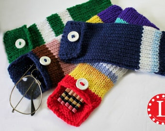 Loom Knitting PATTERNS Pencil Case / Eyeglasses / Hook - Pouch - Use 24-peg loom -  Includes Video Tutorial by Loomahat