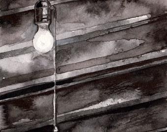 Spooky Light Bulb Ink Drawing - Horror Story Art by Jen Tracy - No Sleep Podcast Original Illustration of Basement Bulb - Scary Story Art