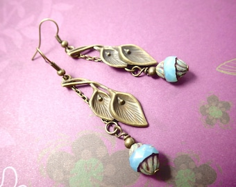 Calla - bronze earrings Earrings in vintage style with Picasso glass bead