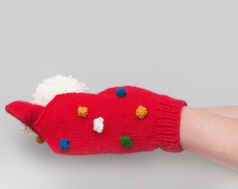 Good mood mittens, red mittens with colorful dots, teens knit mitts, womens wool mittens, winter gloves, women knit mittens, winter wear