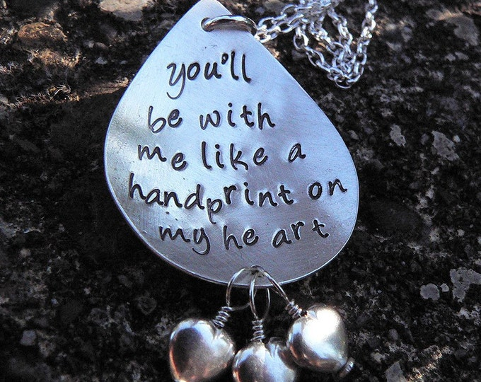 Like a Handprint on My Heart ... Customizable Solid Sterling Silver Pendant Loss Necklace ... Grief, Miscarriage, Memorial, Hand Stamped