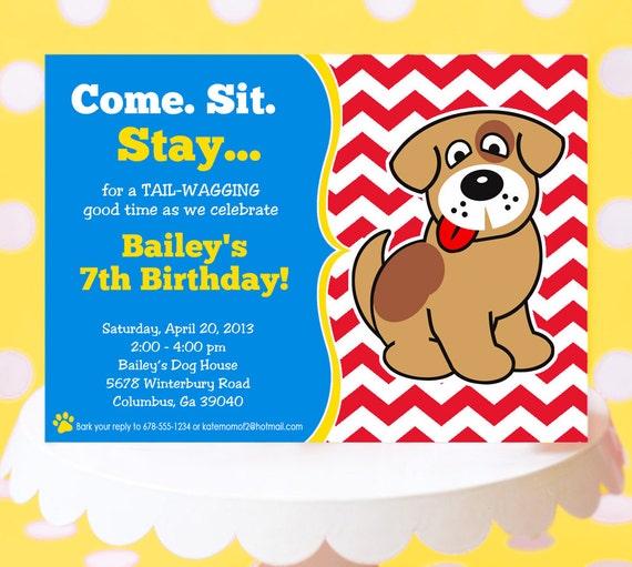 Puppy Party Invitation Puppy Birthday Invitation Printable