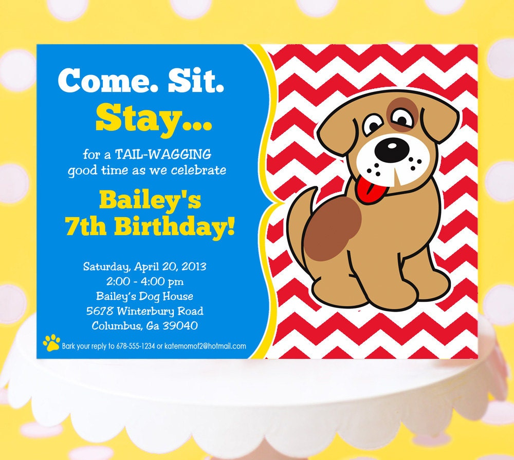 Puppy Party Invitation Puppy Birthday Invitation Printable