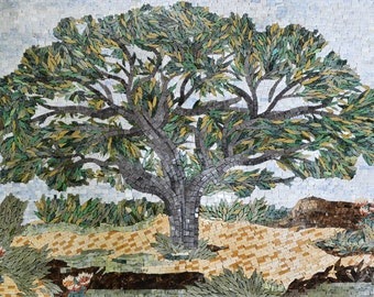 Marble Mosaic Display of a Tree