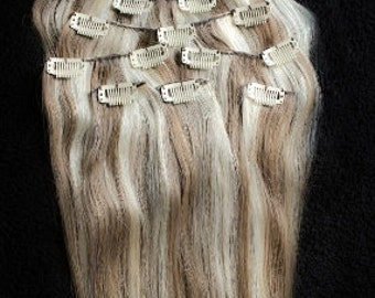 18inches 7pcs Clip In Human Hair Extensions 8/613 Brown Blonde Mix