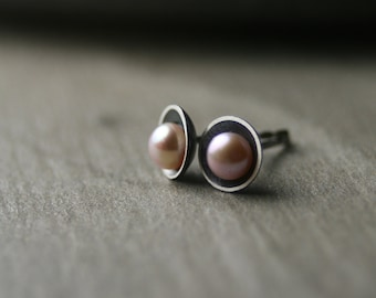 Freshwater modern pearl and oxidized sterling silver post stud earrings