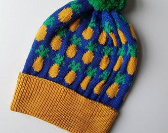 Knitted Pineapple Pom-Pom Beanie/Bobble Hat in 100% Merino Wool - multicoloured, sustainable, tropical, winter ski, gift for teen, mum