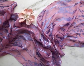 Silk Scarf Satin Devore Scarf Rose and Light Blue