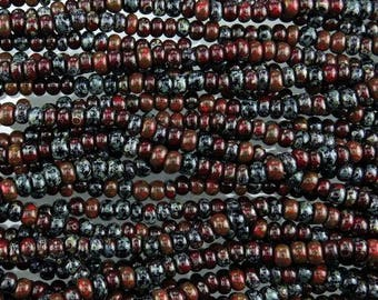 4/0 Aged Opaque Dragon Heart Picasso Mix Czech Glass Seed Beads - 18 Inch Strand (AW258) SE