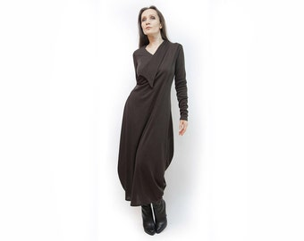 Dress ,brown dress,long dress,asymmetric dress,long sleeves,dark dress, warm dress , autumn dress,knitted dress,boho style,D46