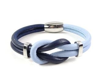 Celtic Knot Bracelet, Blue Leather Bracelet, Womens Leather Bracelet, Womens Leather Jewelry, Celtic Leather Bracelet, Infinity Knot, Navy