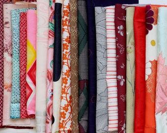 kimono fabric set, Japanese fabric, kimono textile, Japanese textile, gifts for crafter, Japanese shibori, 20 pieces/2