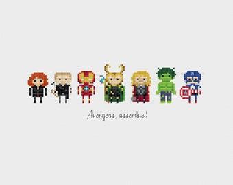 Avengers, Assemble! Minis Cross Stitch Pattern PDF Instant Download