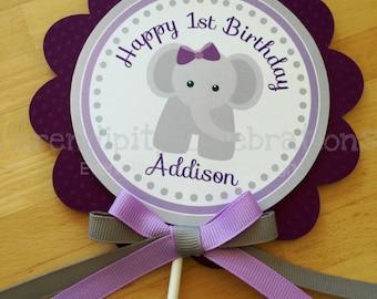 Personalized Cake Topper -Elephant- Grey Elephant small centerpiece -Birthday -Baby Shower -Smash Cake Topper -Photo Prop