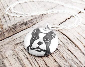 Boston Terrier necklace in silver