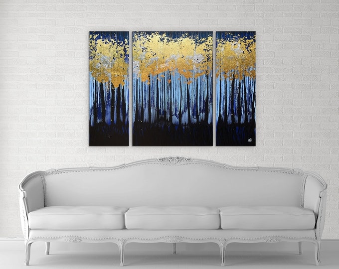 Featured listing image: Golden Forest Textured original painting by artist Rafi Perez Mixed Medium Gold Leaf on Canvas 36X48 Triptych