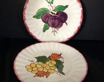 Blue Ridge Southern Pottery COUNTRY FAIR Red Salad Plate set 2 / Country Fair by Blue Ridge Southern Pottery