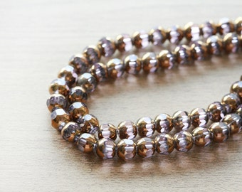 Electroplate Glass Beads - 20 pcs of Unique Red copper plated glass beads - purple - faceted round shape - 8mm